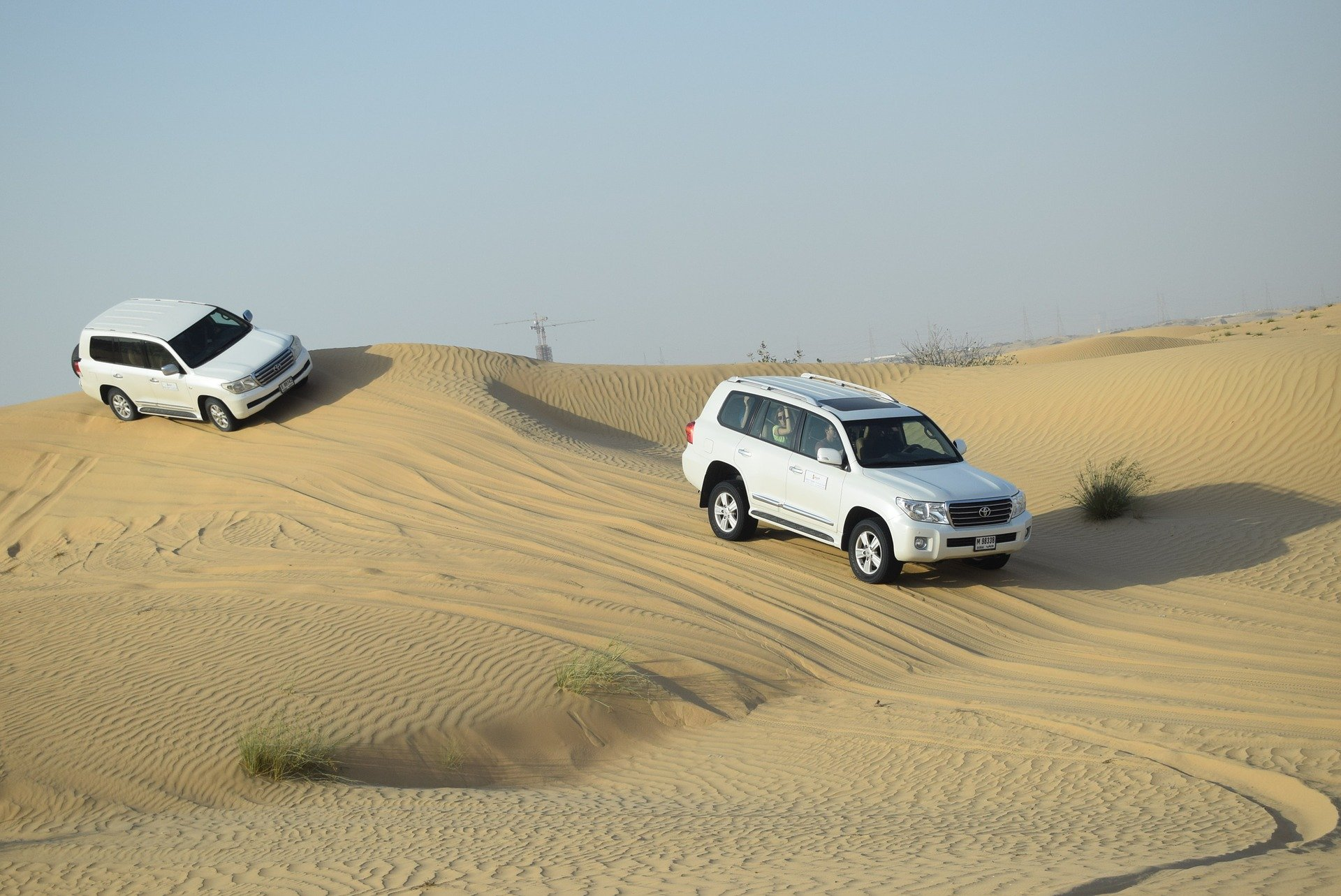 Driving in the sand dunes in the Emirates